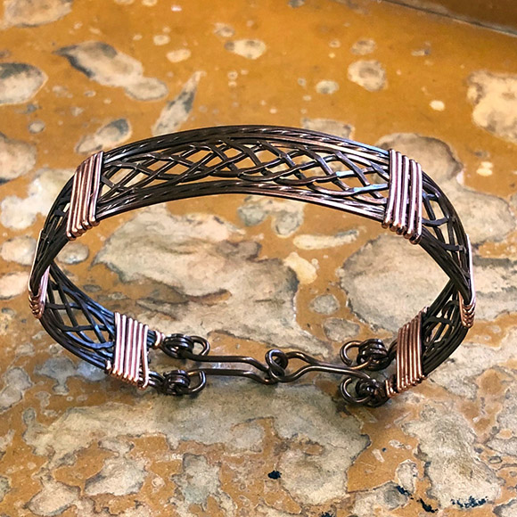 Class Image NEW! 5293. Sterling Silver Wire-Wrapped and Braided Wire Bracelet - Workshop