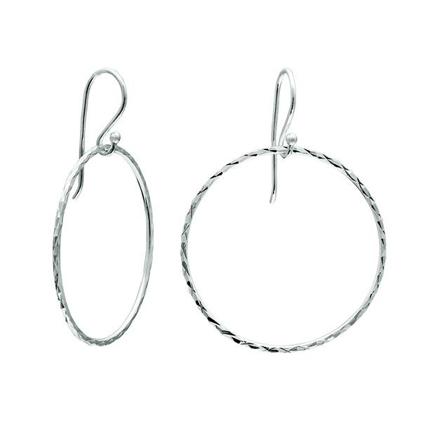 Class Image Taste of Art - Silver Hanging Hoop Earrings