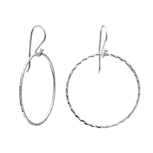 Class Image Taste of Art - Silver Hanging Hoop Earrings