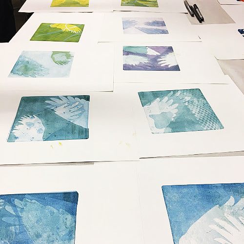 Class Image ONLINE Stencil Printmaking with Leslie Smith