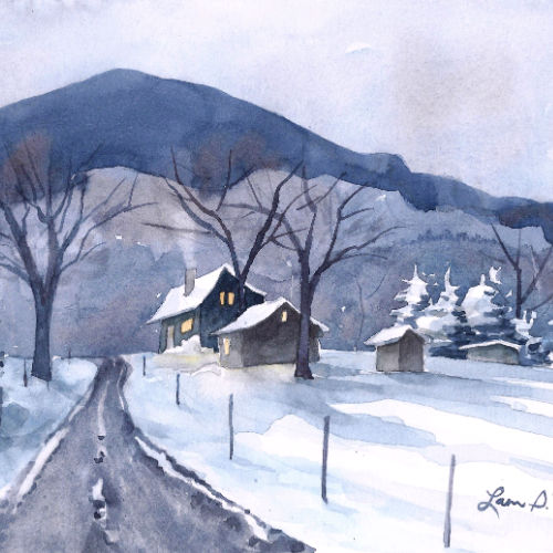Class Image Online: Winter Watercolor Landscape with Laura Poss