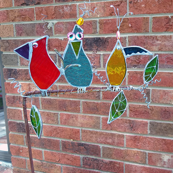 Class Image Stained Glass Bird - Plant or Garden Stake One-Day Workshop