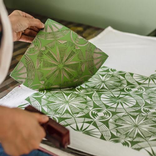 Class Image Online: Visiting Artist- Designing & Block Printing Geometric Repeat Pattern on Fabric